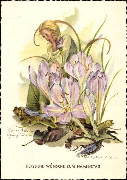 Artist Postcard Schwarz Torinus Anna Marie Glückwunsch Namenstag