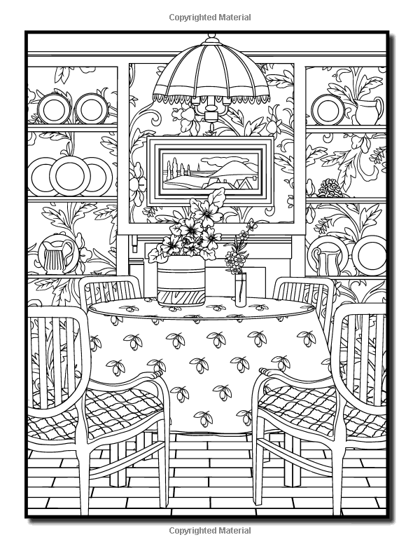 Interior Designs An Adult Coloring Book With Beautifully Decorated Houses Inspirational Room And Relaxing Modern Architecture