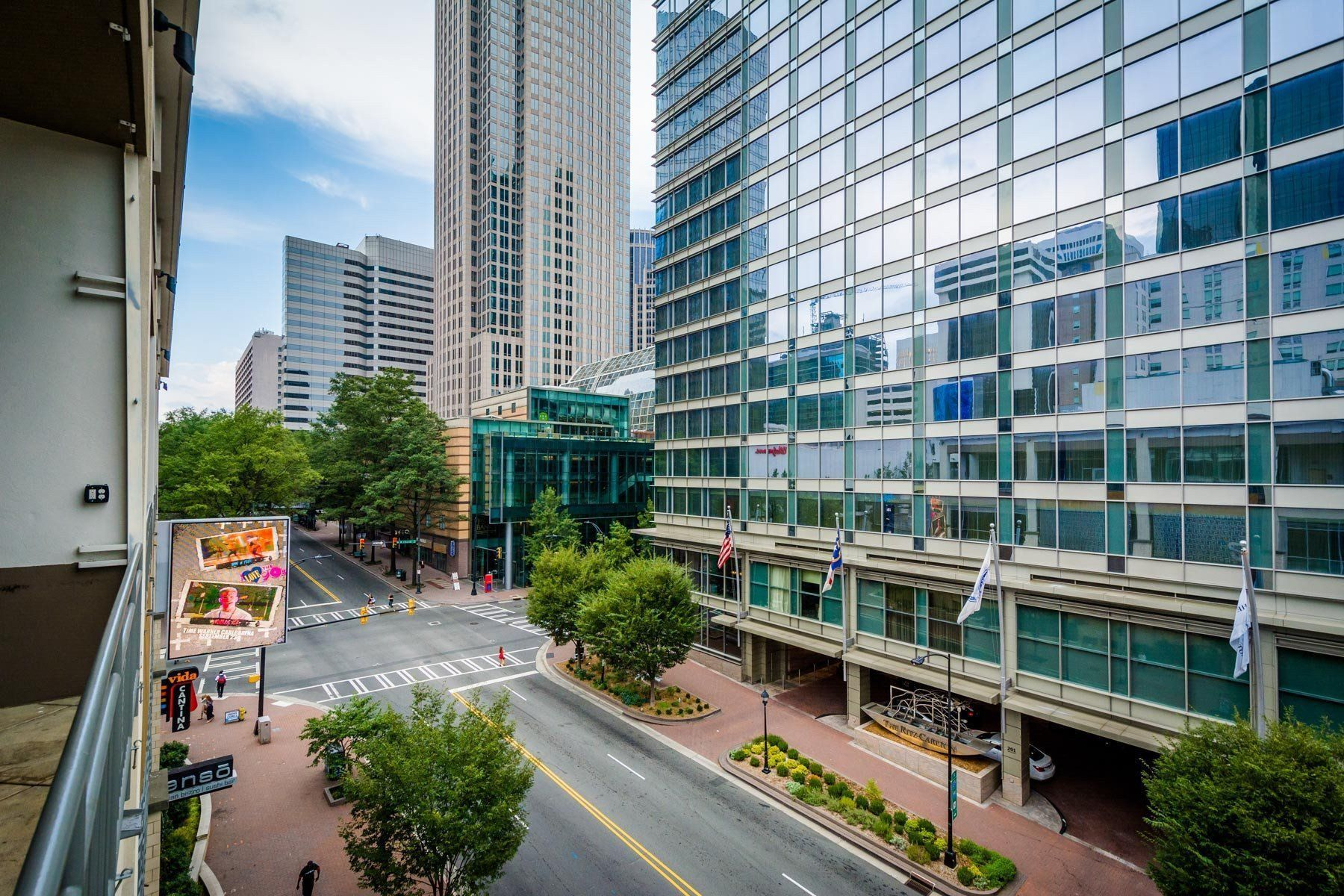 View of modern buildings and intersection in uptown charlotte north