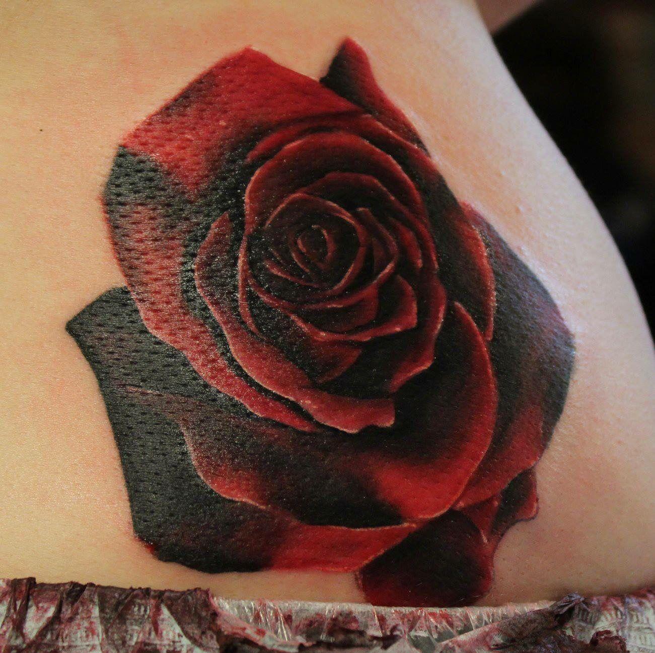 Dark black and red rose | Rose tattoo cover up, Dark roses