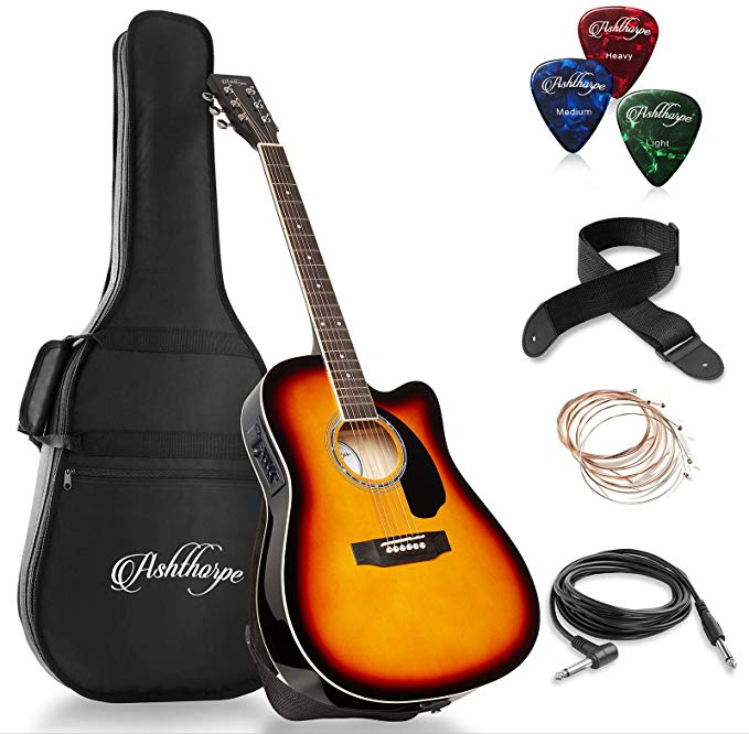 Ashthorpe Full Size Cutaway Thinline Acoustic Electric Guitar Package Premium Tonew Acoustic Guitar Music Acoustic Guitar Accessories Acoustic Guitar Pickups