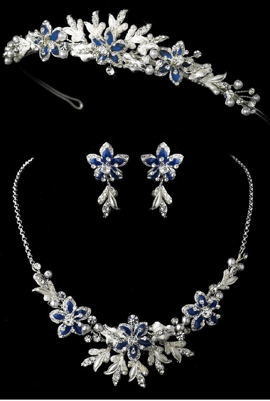 Royal Blue Floral Wedding Tiara And Matching Jewelry Set