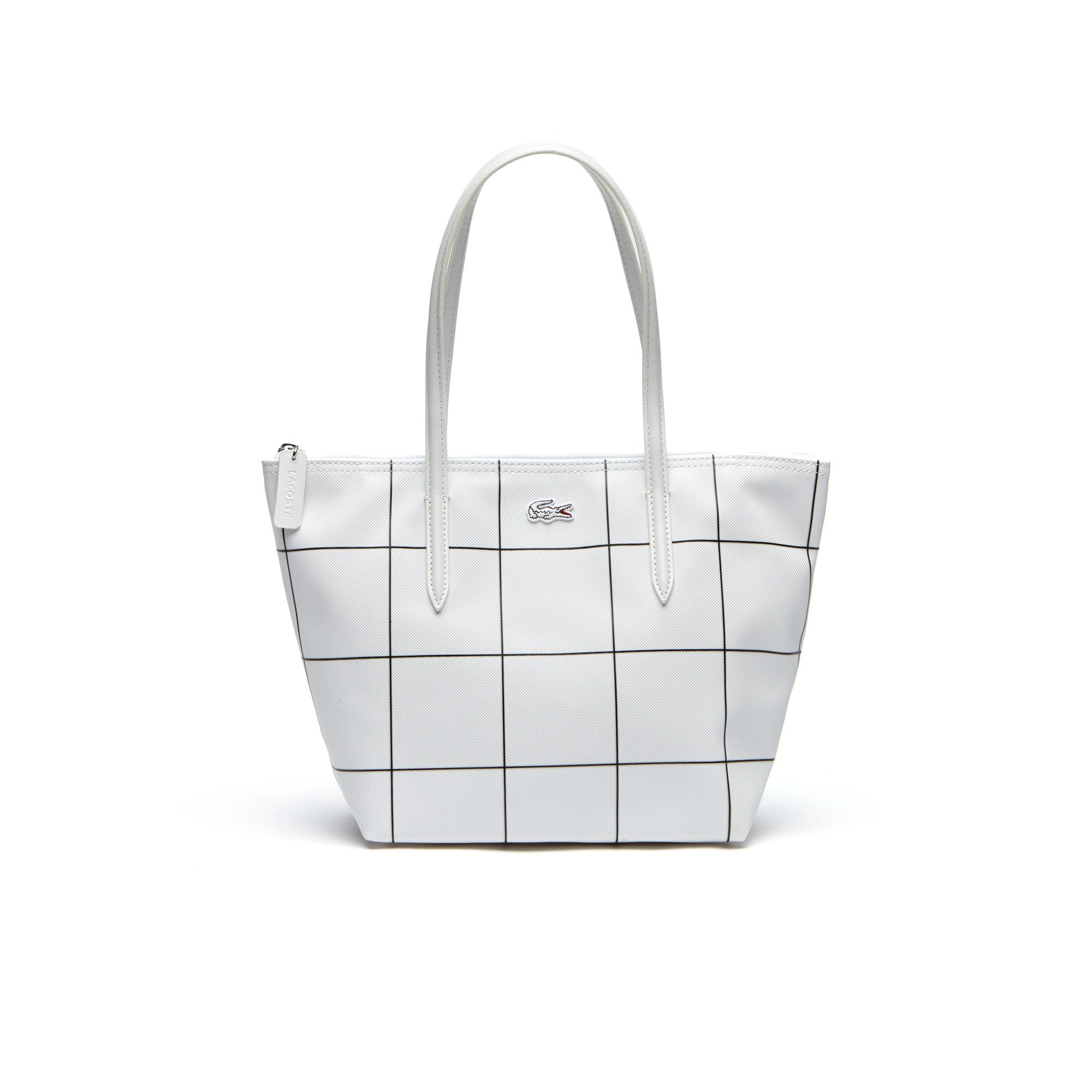 LACOSTE Women s L.12.12 Concept White Squares Small Zip Tote Bag.  lacoste   bags  hand bags  pvc  tote   2b74688db9c44