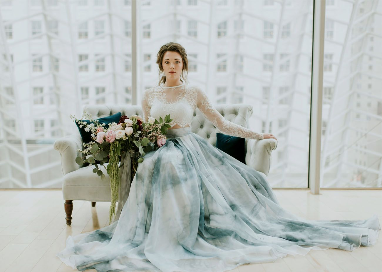 A Blue Watercolor Wedding Dress Green Wedding Dresses Blue
