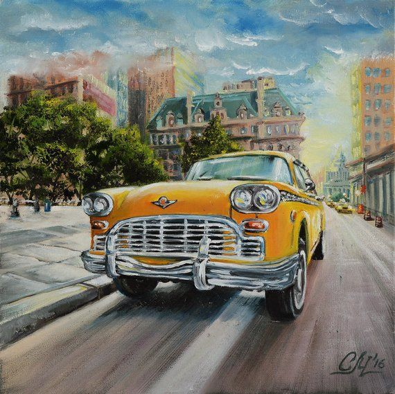 Oil painting Car New York painting City oil painting taxi   Etsy