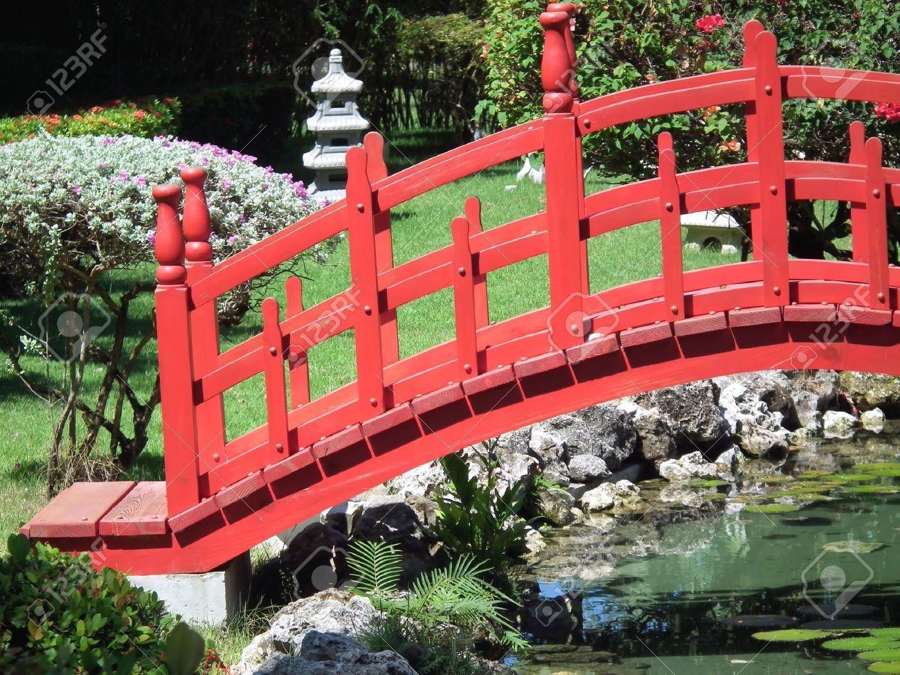 garden bridge red asian bridge in garden stock photo