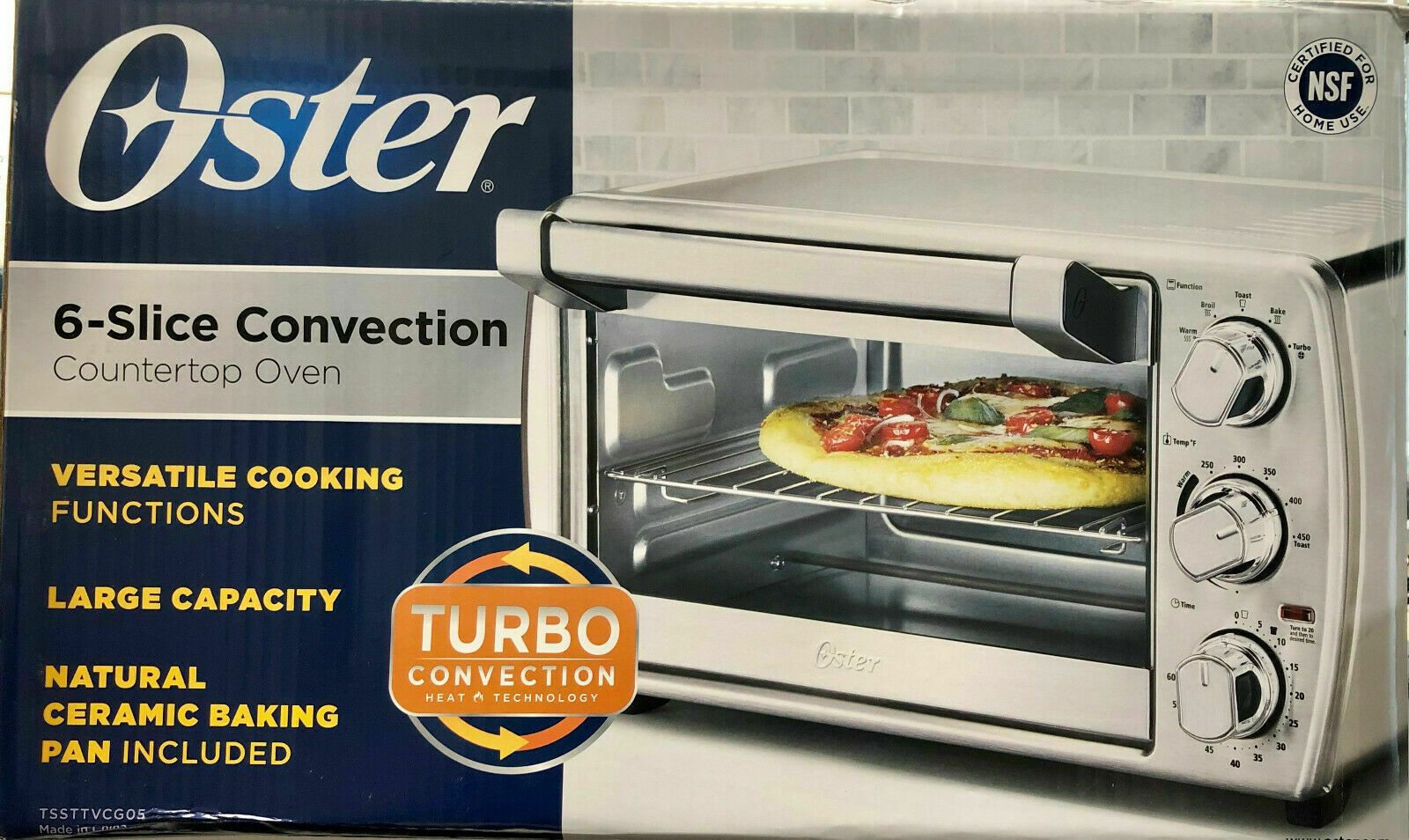 Oster 6 Slice Tssttvcg05 Turbo Convection Toaster Oven Brushed
