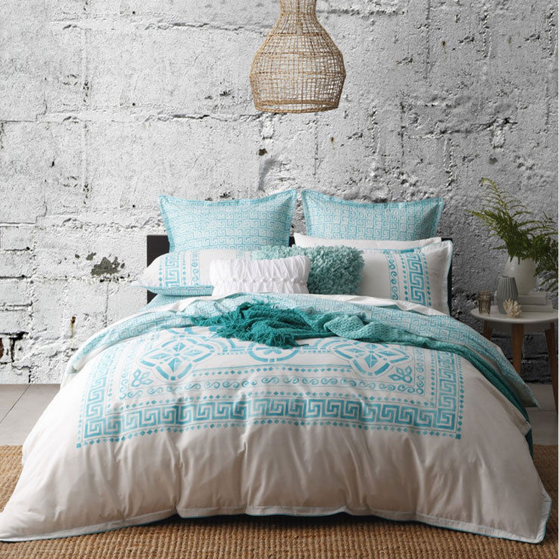 Meandros Teal Quilt Cover Set By Logan Mason