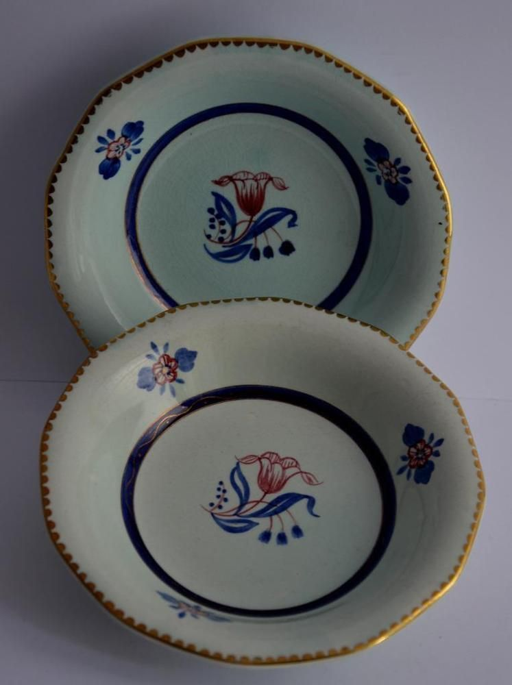 2 adams calyx ware bowls georgian 2609 gilded hand painted ironstone 5 34
