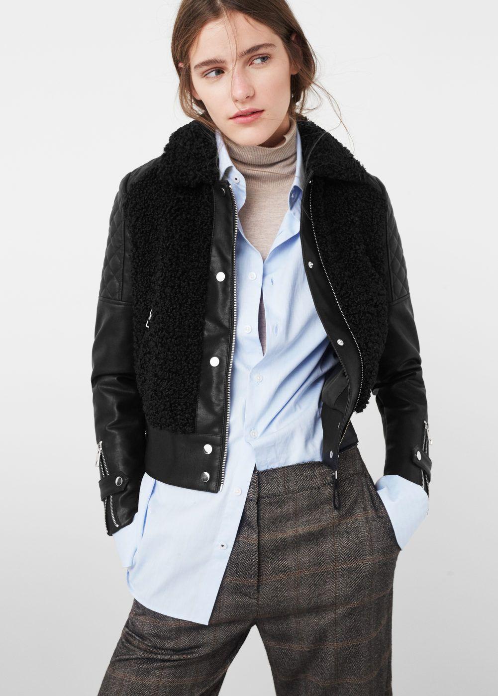 Faux shearling jacket - Jackets for Woman   MANGO USA