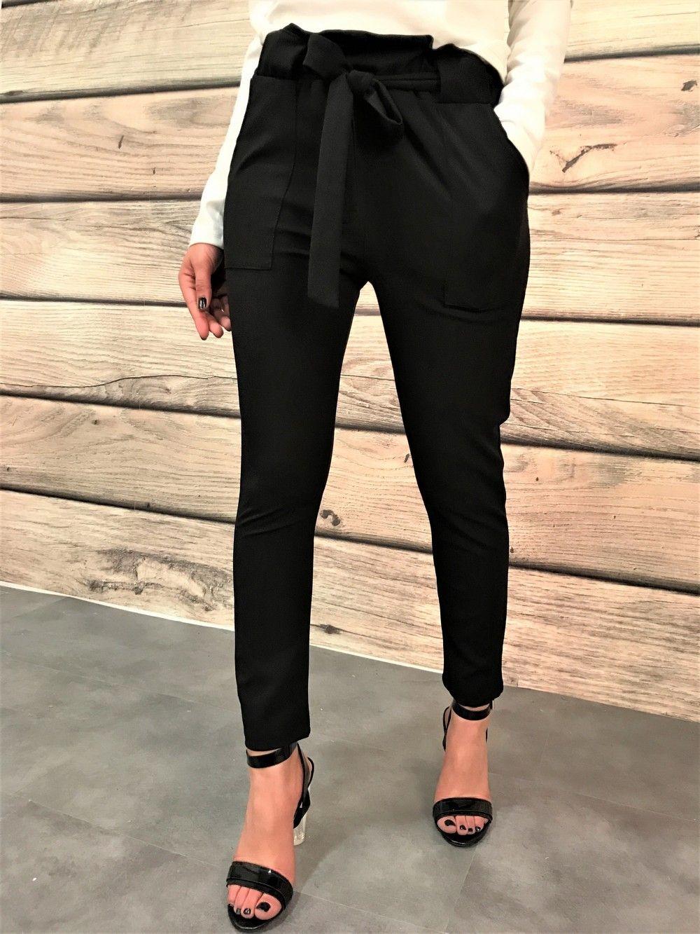Pantalon fluide avec ceinture à la taille Pantalon Chino Femme a090c942901