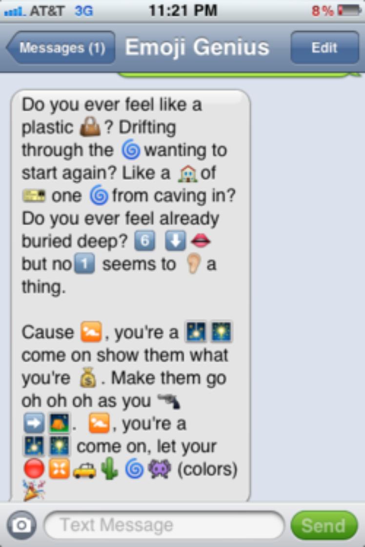 16 Song Lyrics Cleverly Translated Into Emoji Text Messages Emoji Texts Funny Texts Funny Emoji Stories