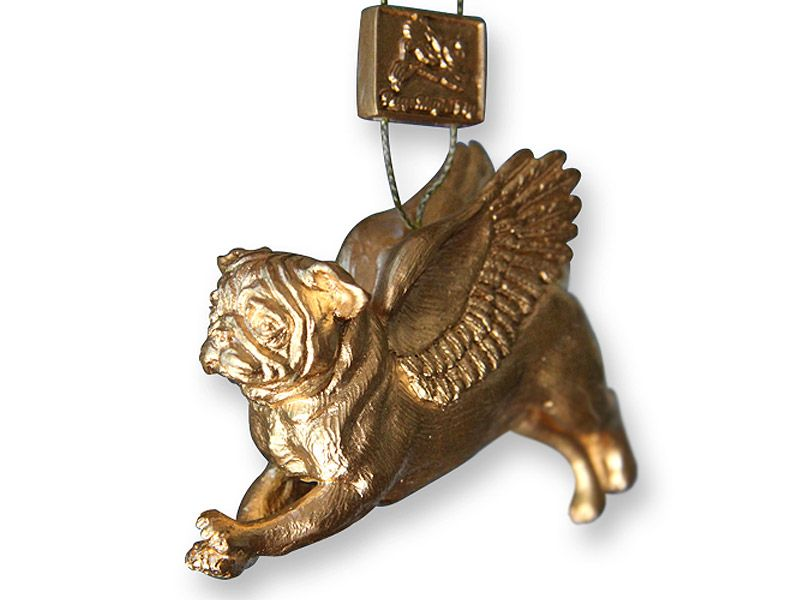 Pugs Might Fly Pug Christmas Tree Decoration (Gold) | Pug ...