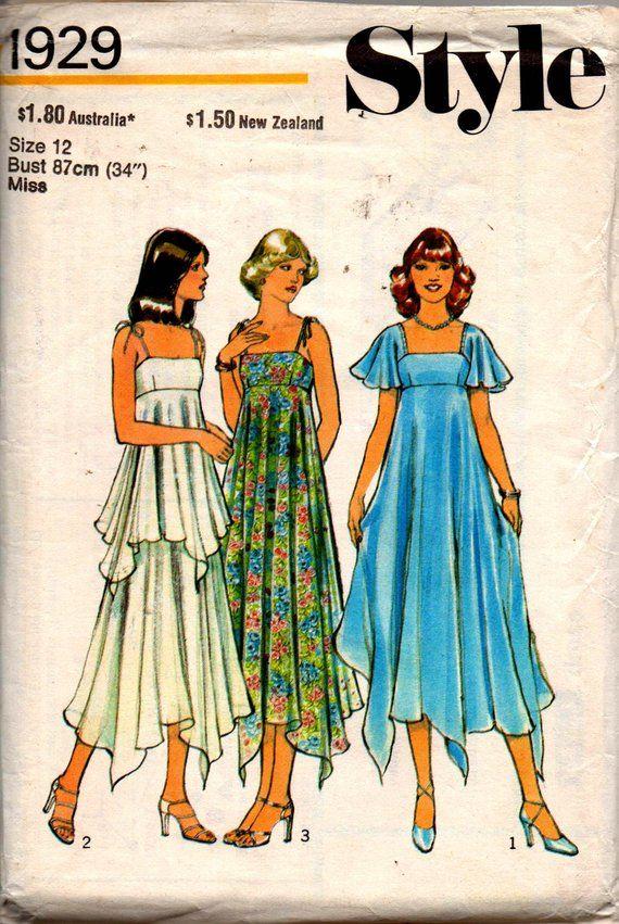 3490d3c129 Style 1929 Womens Boho Empire Waist Tent or Handkerchief Dress 70s Vintage Sewing  Pattern Size 12 Bu