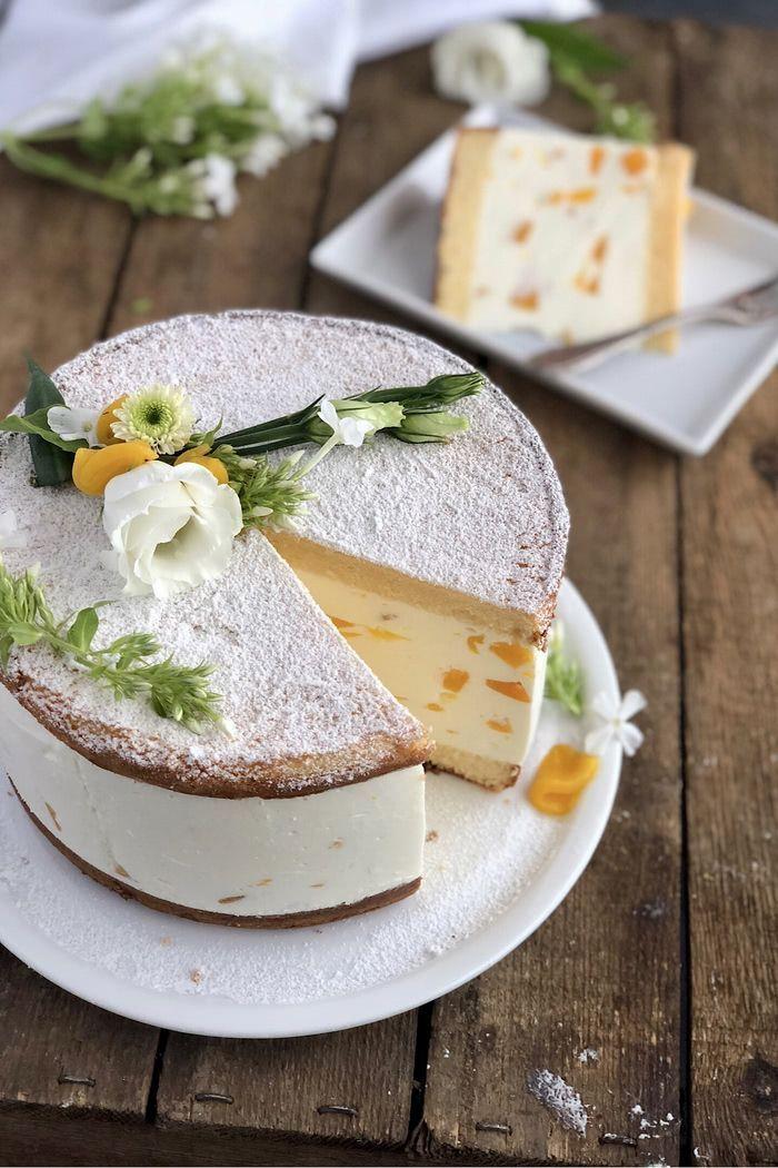 Klassische Käse Sahne Torte mit Pfirsichen - Lissi's Passion