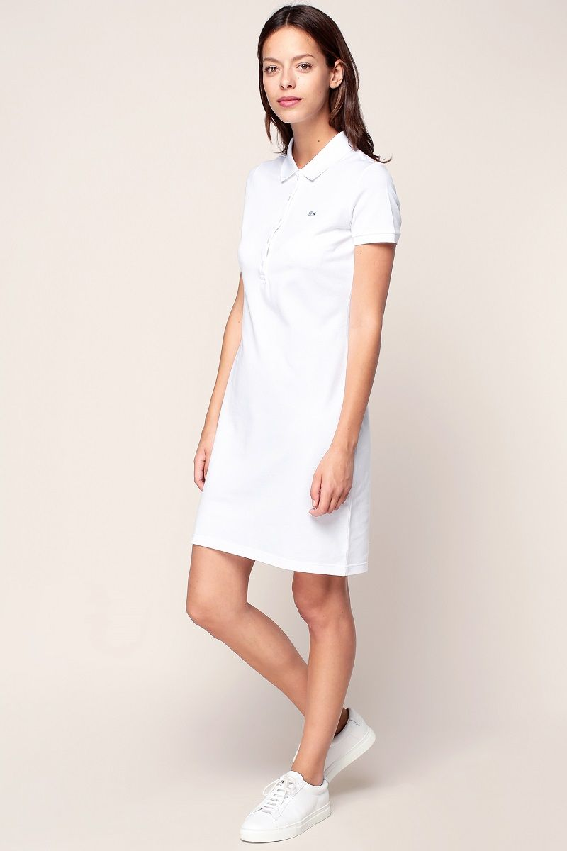 eb016806723 Lacoste Robe polo blanche avec logo brodé - Monshowroom