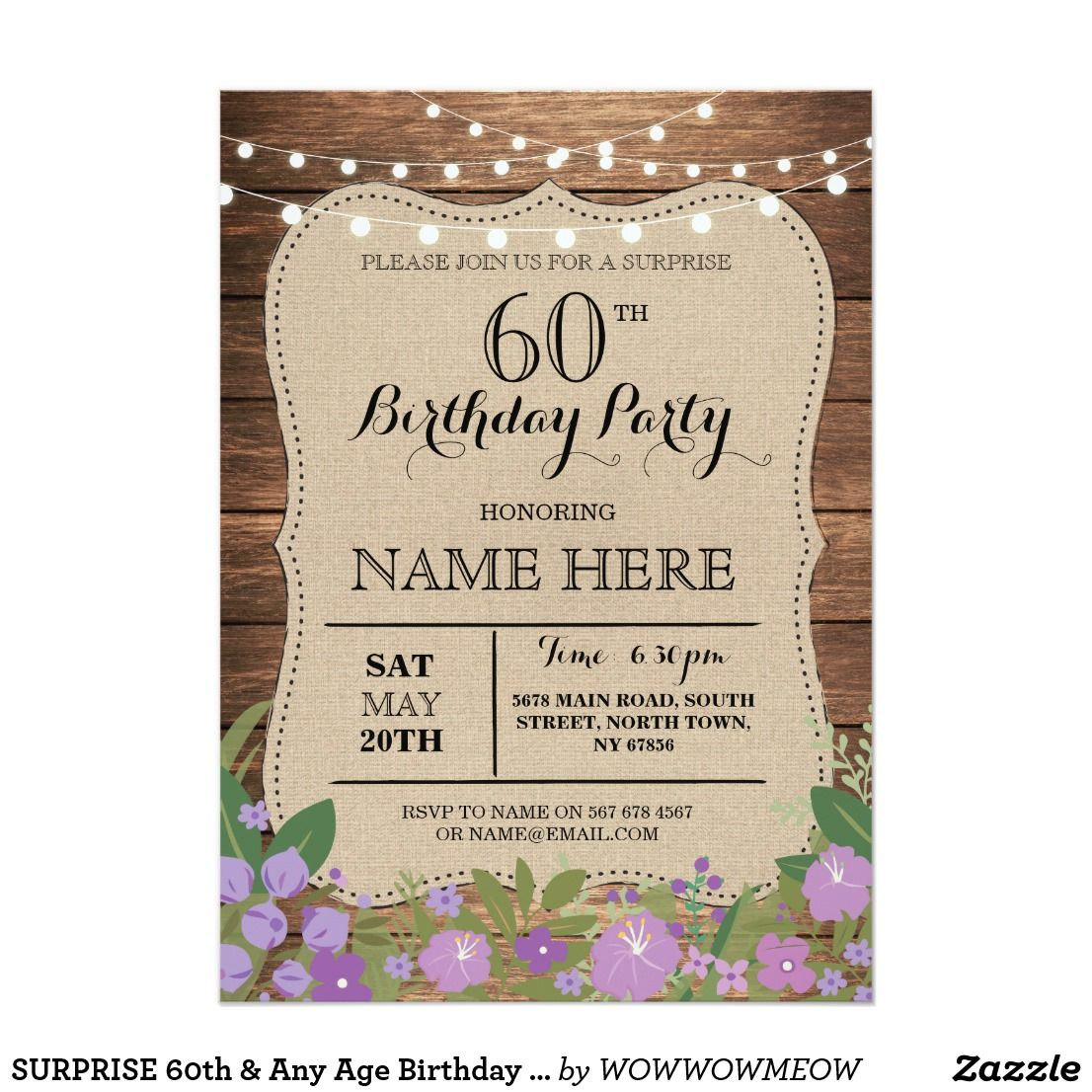 SURPRISE 60th & Any Age Birthday Party Wood Invite | Party ...