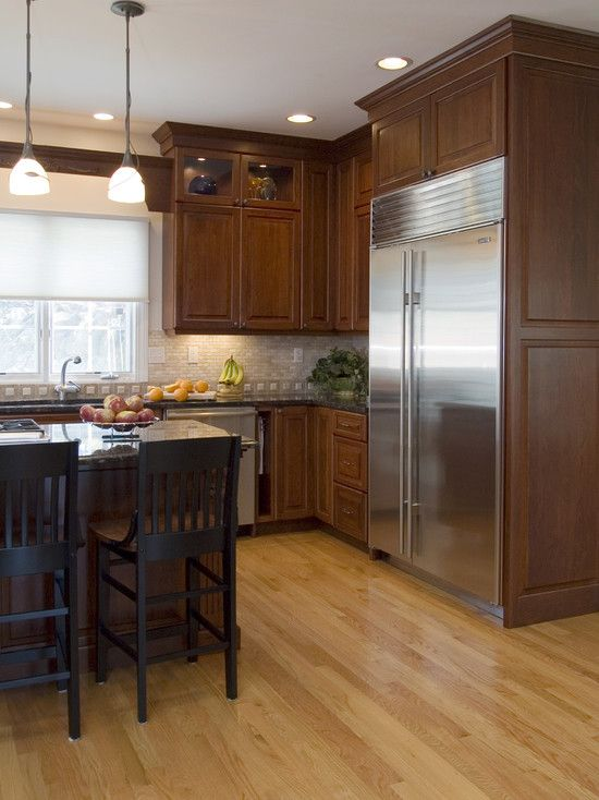 Dark Wood Floor Wood Cabinets Kitchen Design Ideas Pictures Remodel And Decor Beautiful Kitchen Cabinets Kitchen Interior Kitchen Cabinet Design