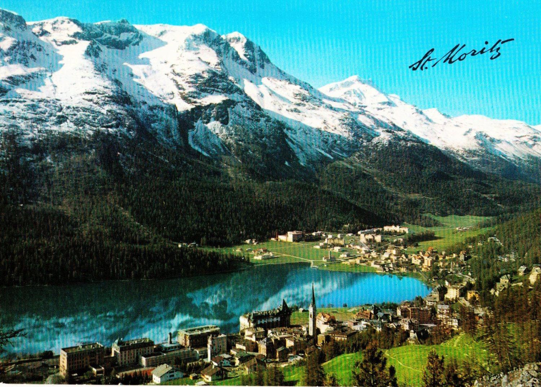 Vintage 60s st moritz switzerland postcard unposted real color photo st moritz mountains - Quails inn restaurant san marcos ...