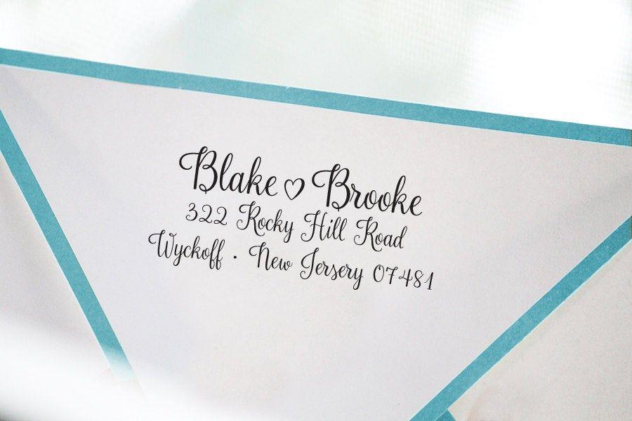 Calligraphy Return Address Stamp   House Warming Gift Address Stamp   Self Inking Address Stamp  New Home Gift  Custom Wedding Gift