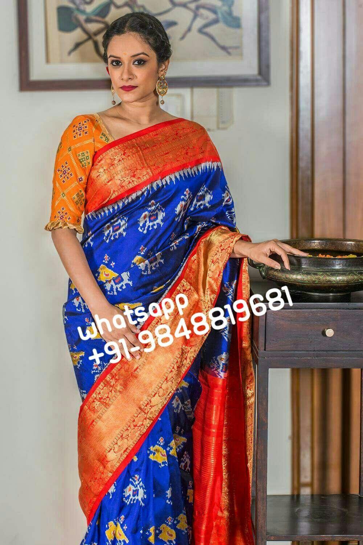 3 4 sleeve silk saree blouse designs pin by kavya reddy on poolajada  pinterest  saree ikkat saree and