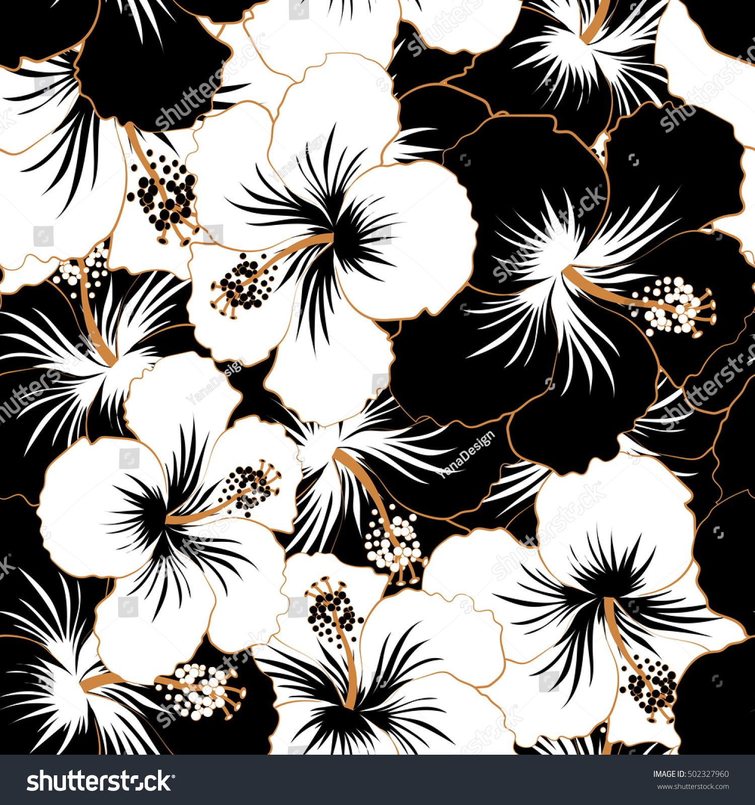 Hibiscus Flowers In Black And White Colors Flower Background