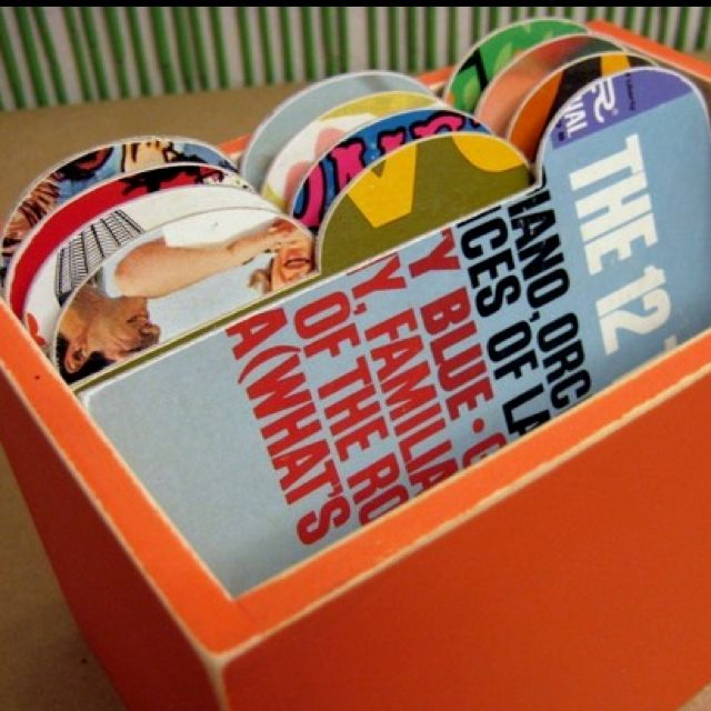 Gift for husband. Filing system with old record sleeves