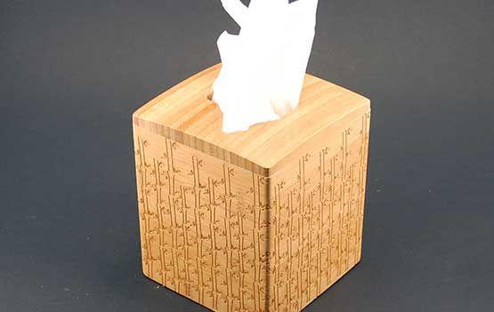 Laser Engraved Bamboo Tissue Box