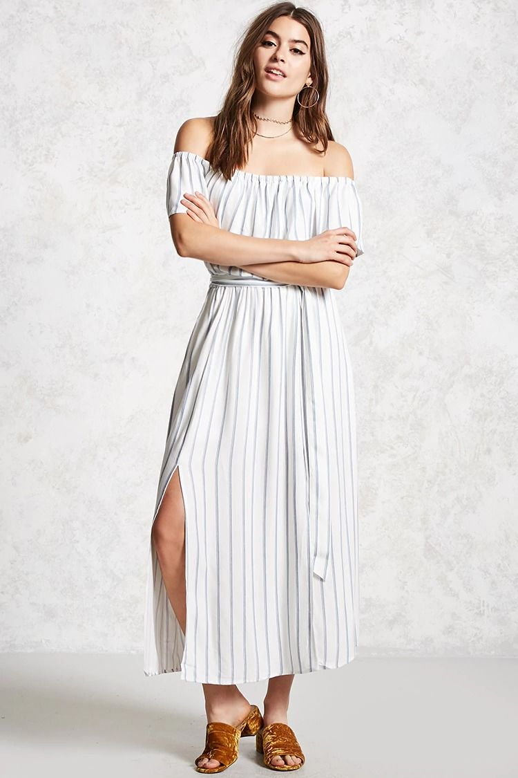 2fd9a5bb743 Forever 21 Contemporary - A woven maxi dress featuring an allover striped  pattern