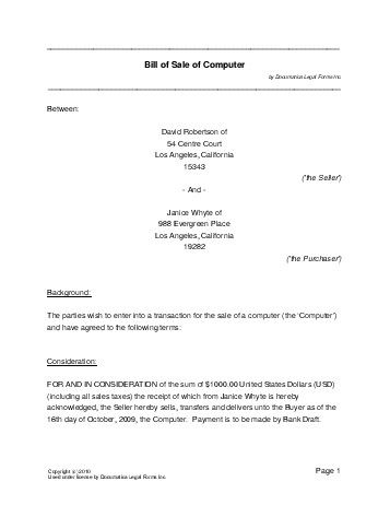 Free Computer Bill of Sale (USA) - Legal Templates - Contracts - Printable Bill Of Sale