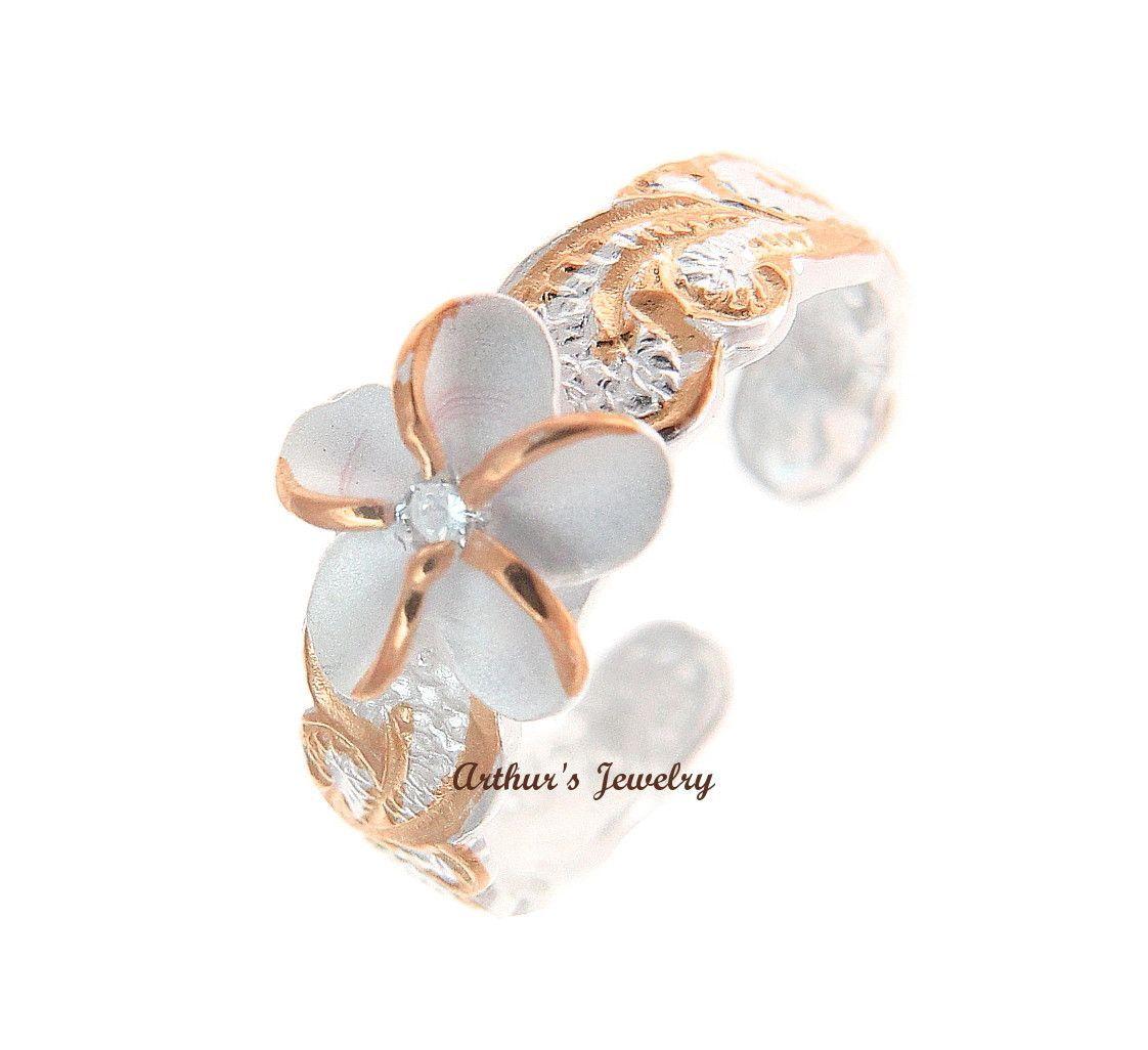 925 Sterling Silver Hawaiian Triple Plumeria Flower White CZ Open Toe Ring