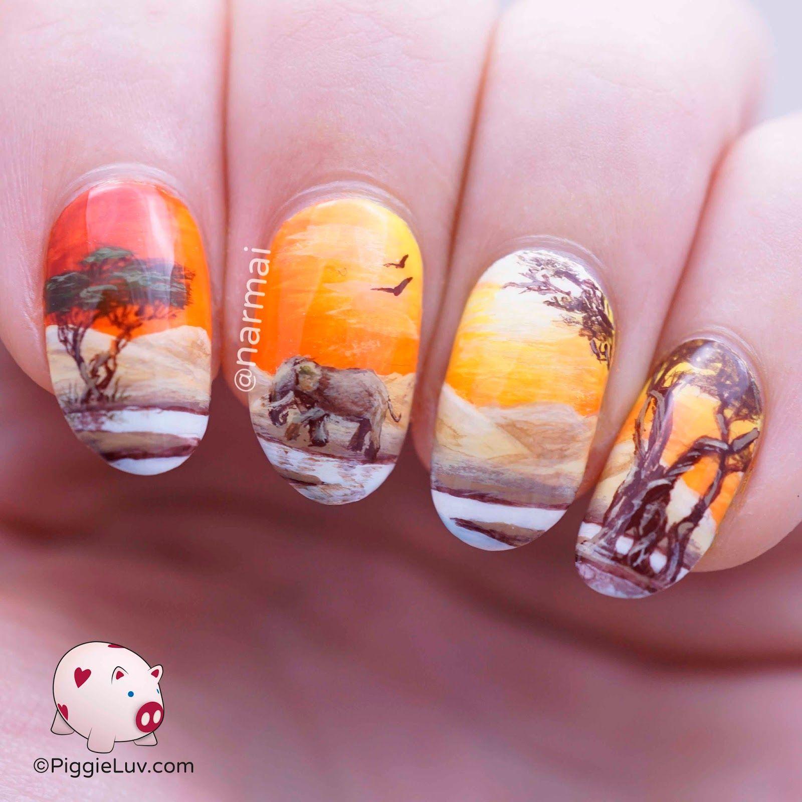 Freehand desert view landscape nail art | Pretty nail art