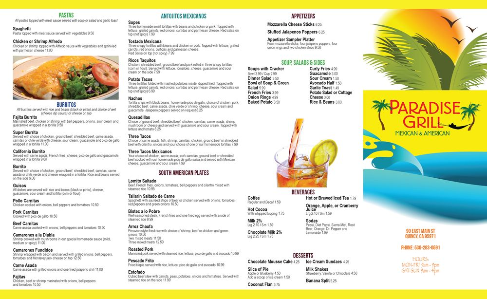 Restaurant To-Go Menu Graphic Design Services for Mexican and