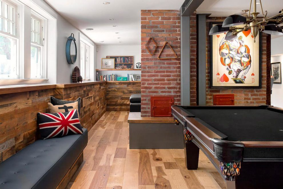 accent brick wall basement industrial with game area game on brick wall id=62416