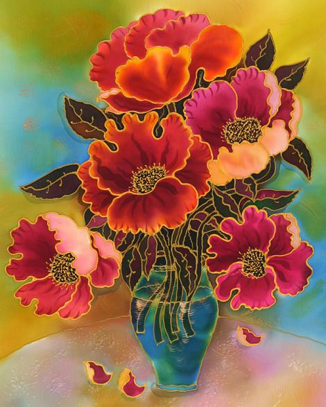 Poppies in a vase yelena sidorova silk pinterest silk poppies in a vase yelena sidorova poppies paintingsilk paintingflower mightylinksfo
