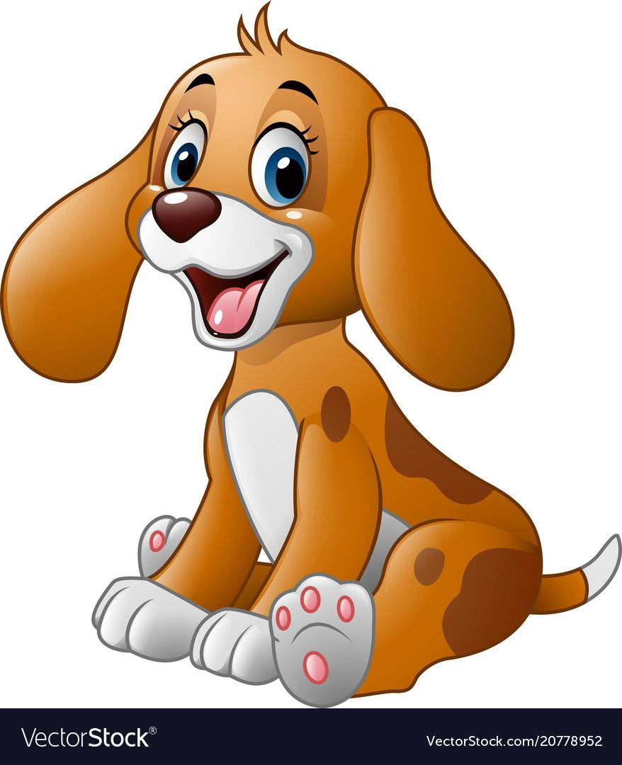 Vector Illustration Of Cute Little Dog Cartoon Download A Free Preview Or High Quality Adobe Illustrator A Cute Dog Cartoon Cute Dog Pictures Cute Dogs Images