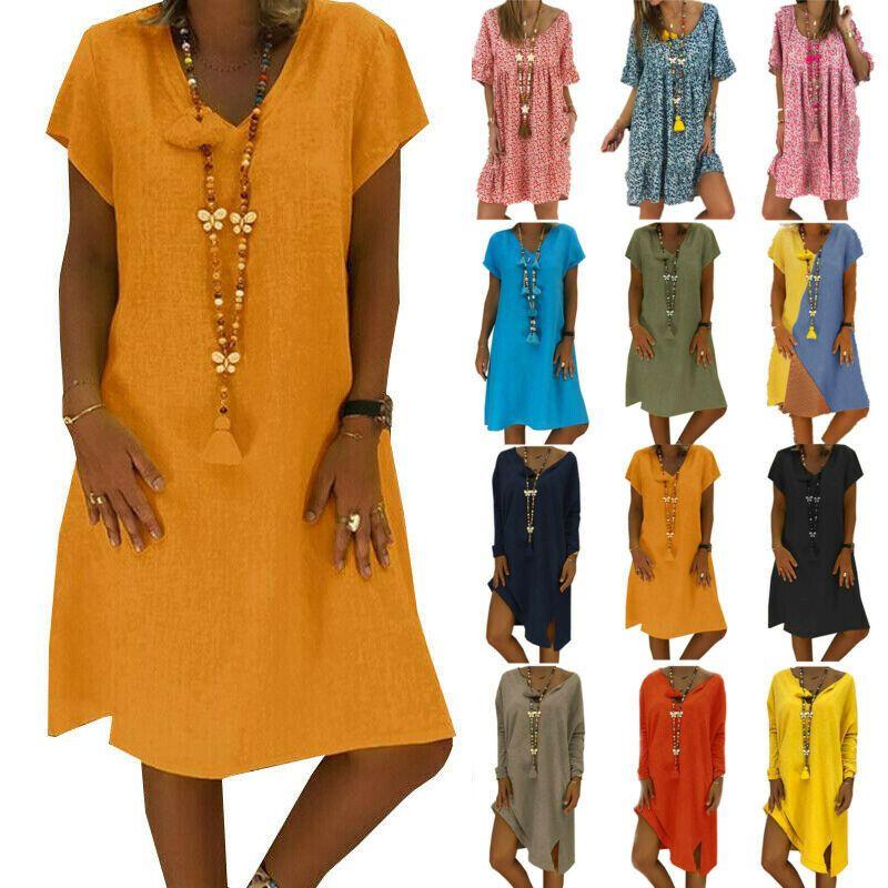 Damen Blumen Boho Minikleid Strand Tunika Hemdkleid Longshirt Blusen Gr 34-46