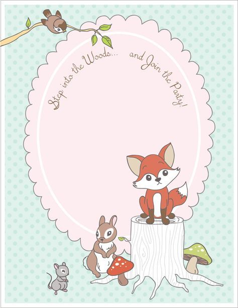 Free Printable Woodland Animal Place Cards Party