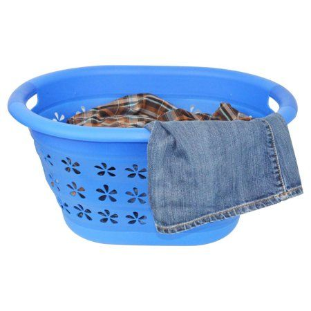 Collapsible Laundry Basket Blue Collapsible Laundry Basket