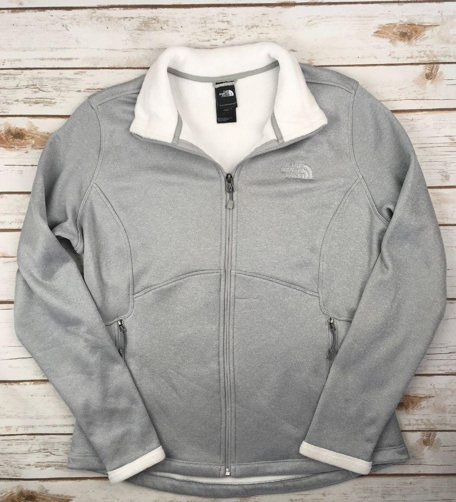 fead59095 Womens The North Face Jacke Agave Full Zip Soft Fleece Coat Grey ...