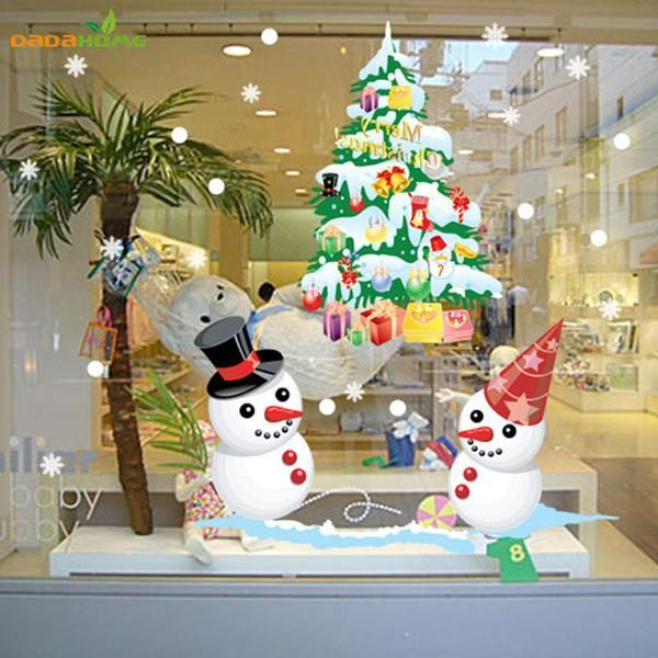 Window Snowman Christmas Tree Christmas Wall Sticker Christmas Decorations