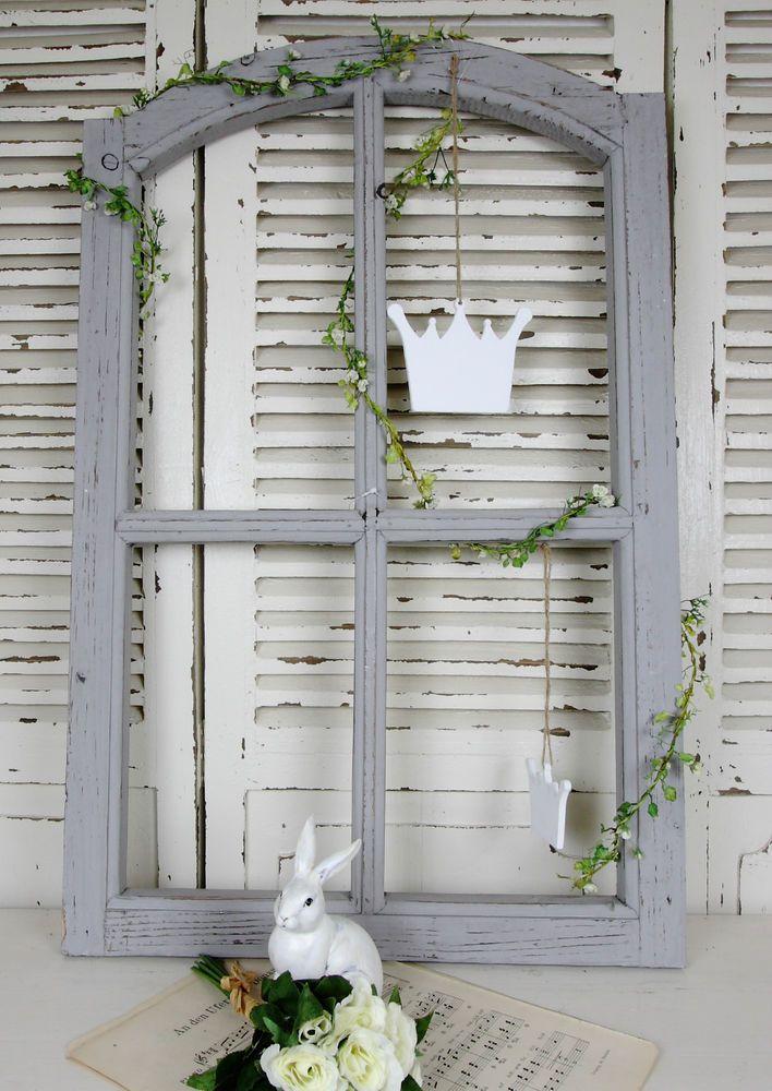 Fenster Sprossen Holz Grau Deko Shabby Vintage Brocante Landhaus 2 ...