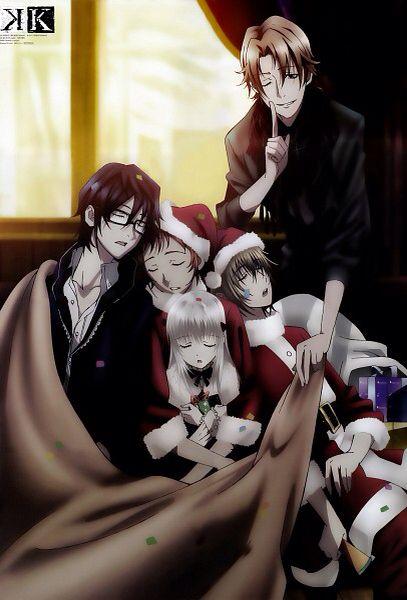 Christmas at HOMRA. Saruhiko, Misaki, Anna, Totsuka and Kusanagi. K Project #anime