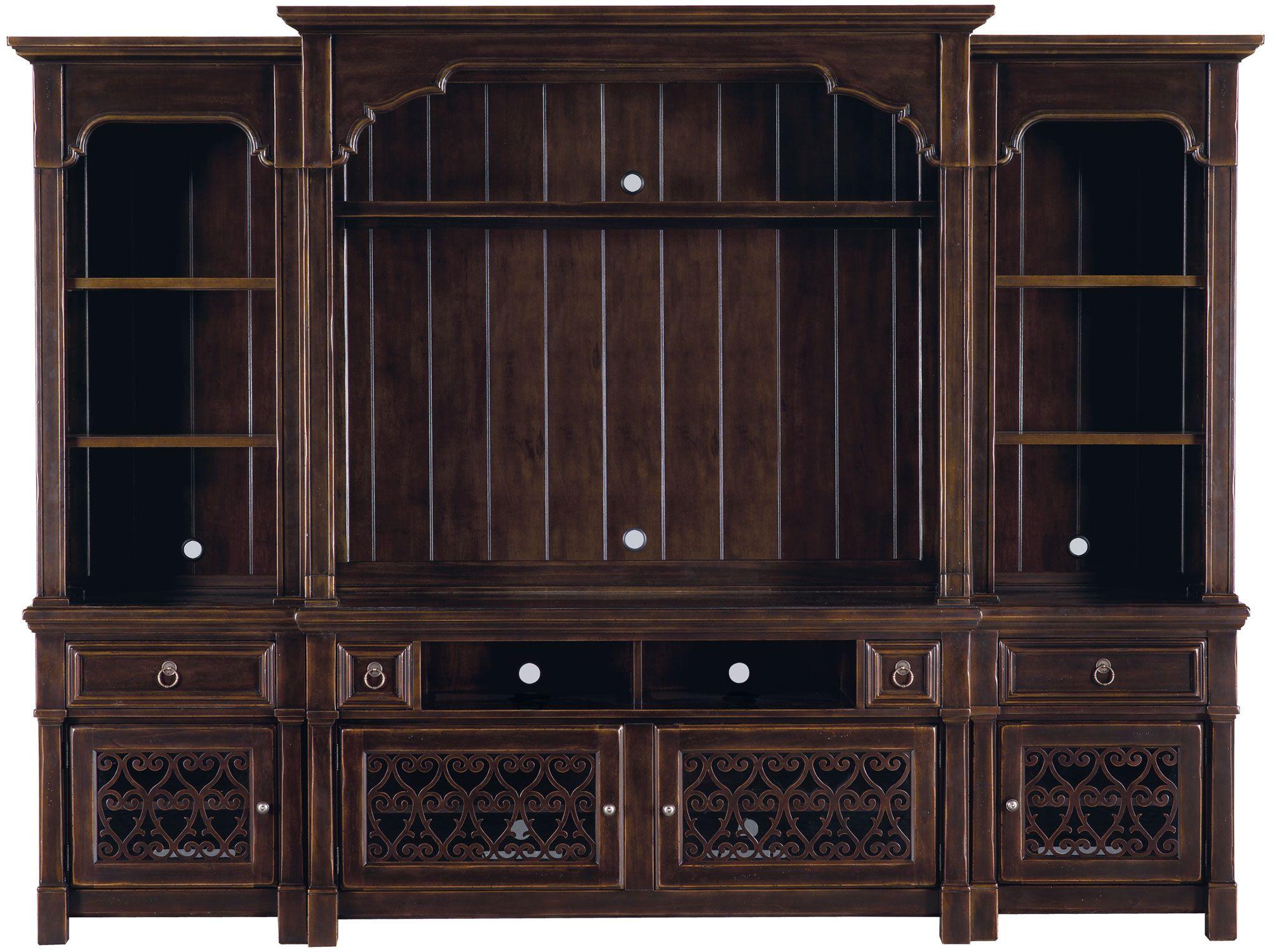 Cheap legends furniture cambridge fireplace media center in cherry - Entertainment Console Deck With Pier Units Bernhardt