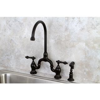 Vintage High Spout Oil Rubbed Bronze Bridge Kitchen Faucet With Side Sprayer