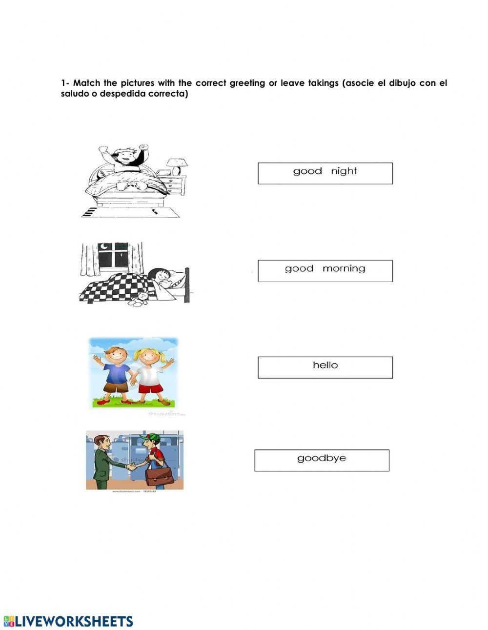 Greetings In Spanish Worksheet Review Gretings Interactive Worksheet Kids Worksheets Printables Worksheets Worksheets For Kids