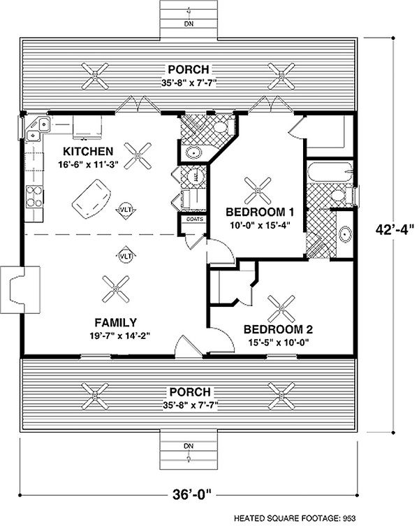 Country Style House Plan 2 Beds 1 5 Baths 953 Sq Ft Plan 56 559 Country Style House Plans Small House Plans Cottage Floor Plans