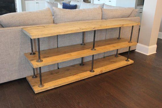 fabriqu s la main ferme console sofa table avec tuyauterie industrielle solide bois et. Black Bedroom Furniture Sets. Home Design Ideas