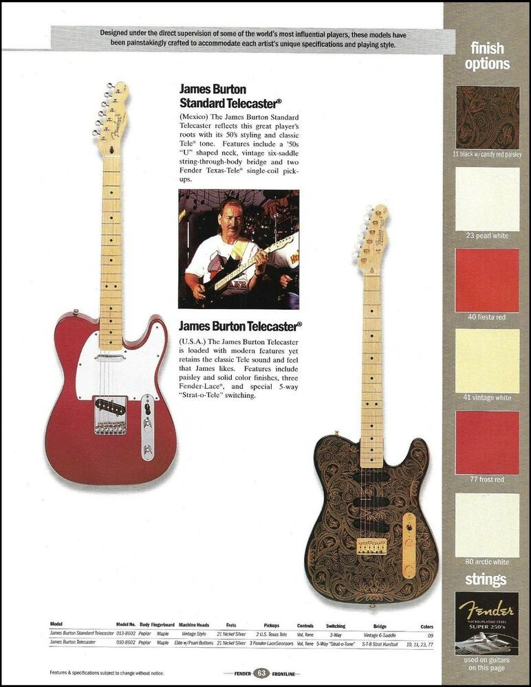 James Burton Jerry Donahue Fender Telecaster Guitar 8 X 11 Ad Print With Specs Fender Fender Guitars Guitar Cool Electric Guitars