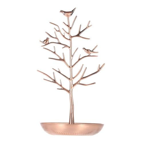 Metal Birds Tree Jewelry Stand Display Rack Hanging Earring Necklace
